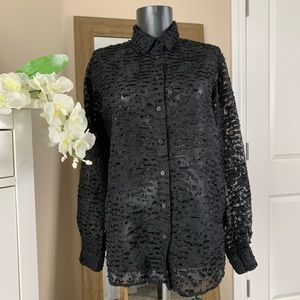 & Other Stories Black Button Down Blouse U…